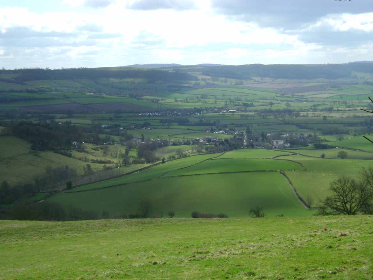 Looking down on Aston on Clun from the Burrow Hill Fort