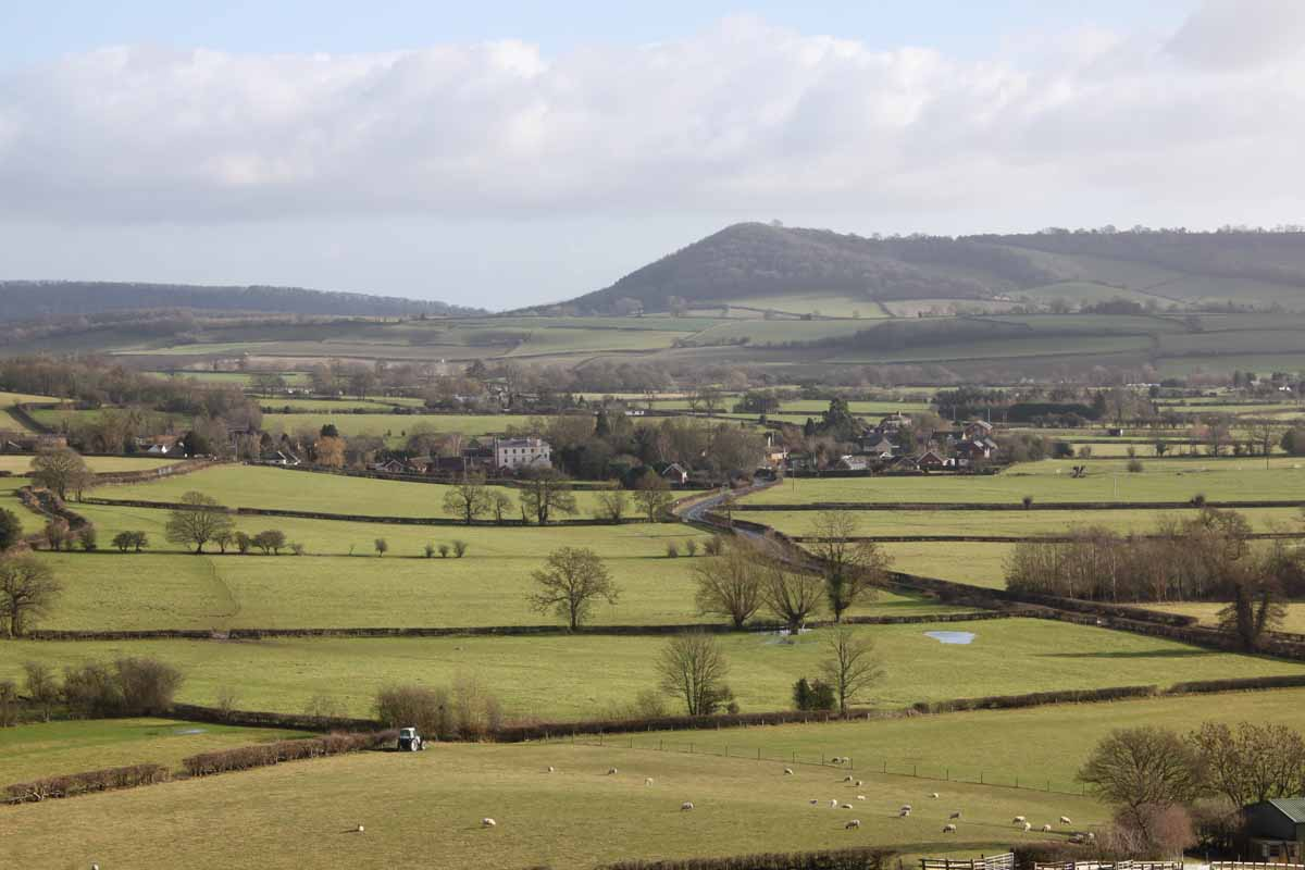 Aston on Clun from the west and the surrounding hills